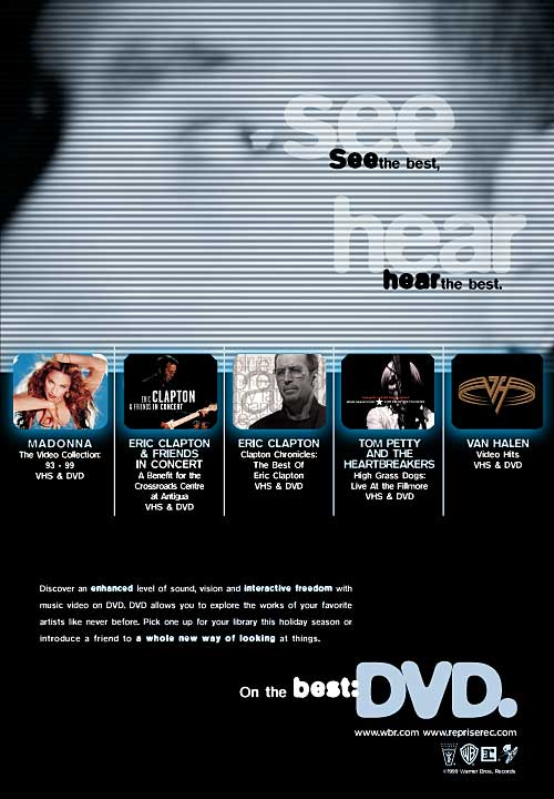 Madonna, Eric Clapton, Tom Petty, Van Halen Video on DVD Ad